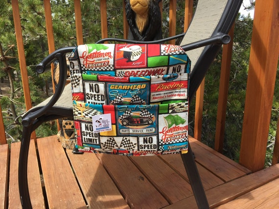 Race Car Party, Boy Birthday Gifts, Fathers Day, Speedway Race Flags, Walker Bag, Nursing Home Gifts, hair Caddy, Wheelchair, Size 13x13