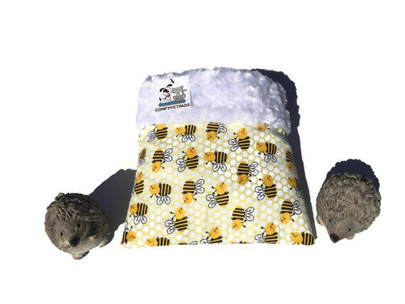 "Yellow Snuggle Sack for Hedgehogs, Small Pouch, Minky Swirl Fur, Animal Bedding, 3 layers, Size 9""x9"", Washable"