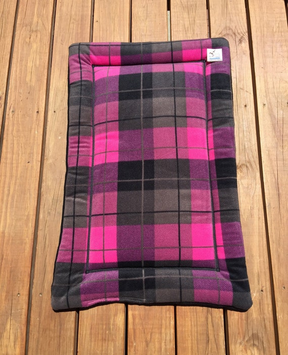 Pink Plaid Crate Pad for Dogs, Cat Couch Mat, Plaid Pet Bedding, Travel Pet Bed, Cover, Puppy Kennel Bed, Washable Pet Bedding, 24x36 Crate