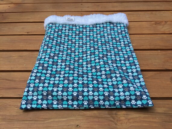Blue Snuggle Sack, Gifts for Pets, Paw Print Burrow Bag, Dachshund Bedding, Cozy Blanket, Doxie Bed Warmer, Chihuahua Dog, Cat Cave, SSL