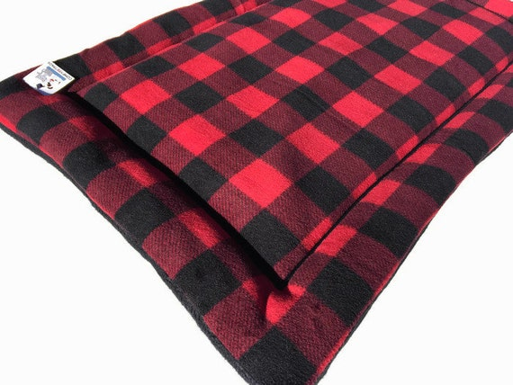 Crate Pad for Dogs in Red Buffalo Check Plaid fleece, Washable, Fits 24x36 Crate