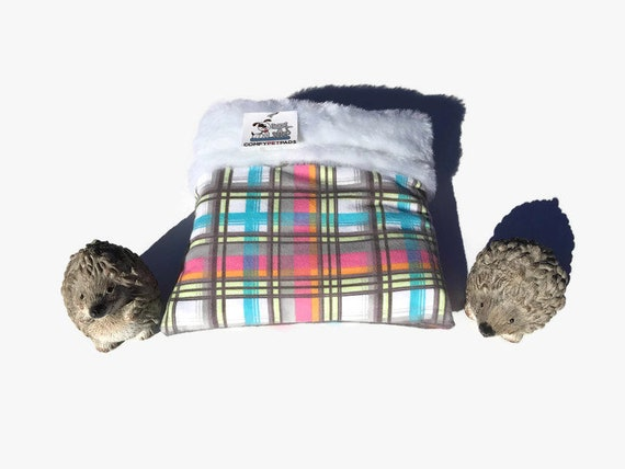 Small Reptiles Snuggle Sack in Pink Plaid, Faux Fur Hedgehog Pouch, Size 9x9, 3 Layers, Washable