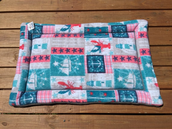 Medium Crate Pad, Kennel Bed, Large Crate Pad, Beds for Cats, Roll up Pet Bed, Pet Training Pad, Nautical Dog Bed, Fits 24x36 Crate