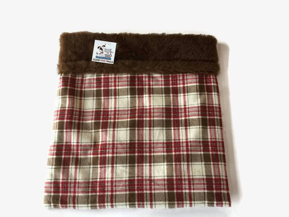 Small Chihuahua Bed, Burrow Bag, Cuddle Cup, Red Brown Plaid, Hedgehog Bed, Snuggle Sack, Rat Hut, Guinea Pig Bed, Hamster Bedding, SSM