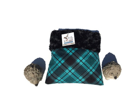 Plaid Snuggle Sack for Hedgehogs - Small Animal Pouch - Black Minky Swirl Fur - Washable - Size 9x9
