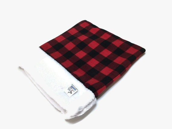 Red Buffalo Plaid Snuggle Sack, Dog Sleep Bag, Cat Burrow Bag, Washable, Size 28x20 uncuffed