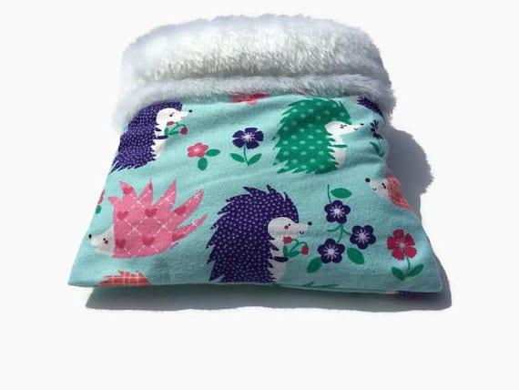 Hedgehog Snuggle Sack with Faux Fur, Size 9x9 Seamless, Washable