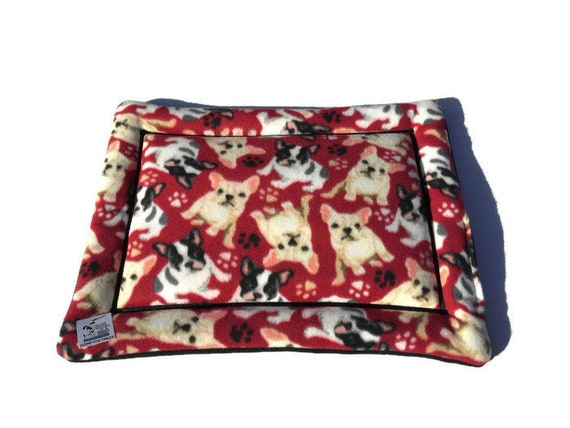 Dog Bed with French Bulldogs, Crate Pad, Pet Stroller Pad, Carrier Liner, Couch Cover, Washable, Size 19x25