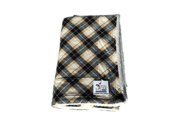 Pet Blanket in Black and Tan Plaid, Pet Stroller Cover, Crate Bedding, Couch Throw, Baby Shower Gift, Cage Accessory, Washable, Size 39x29