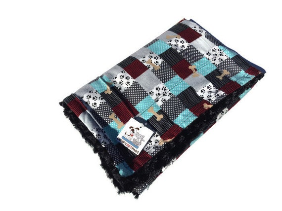 Pet Blanket with Swirl Faux Fur, Patchwork Flannel, Pet Stroller Cover, Crate Bedding, Couch Throw, Baby Shower Gift,  Washable, Size 39x29