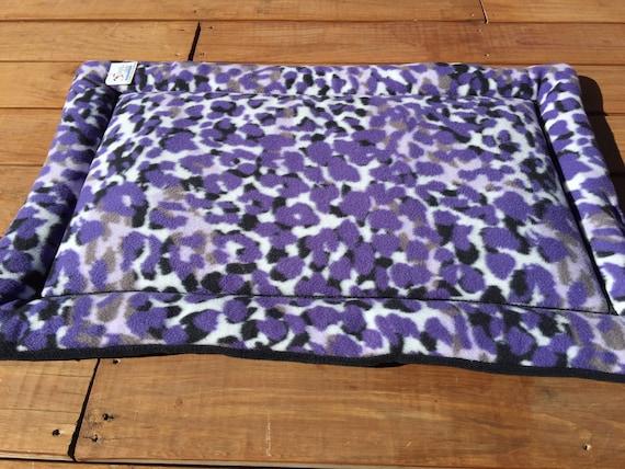 Purple Pet Bed, Dog Crate Pad, Puppy Bedding, Kennel Mat, Medium Crate Pad, Purple Fleece Fabric, House Pad, Cheetah Fabric, African Decor