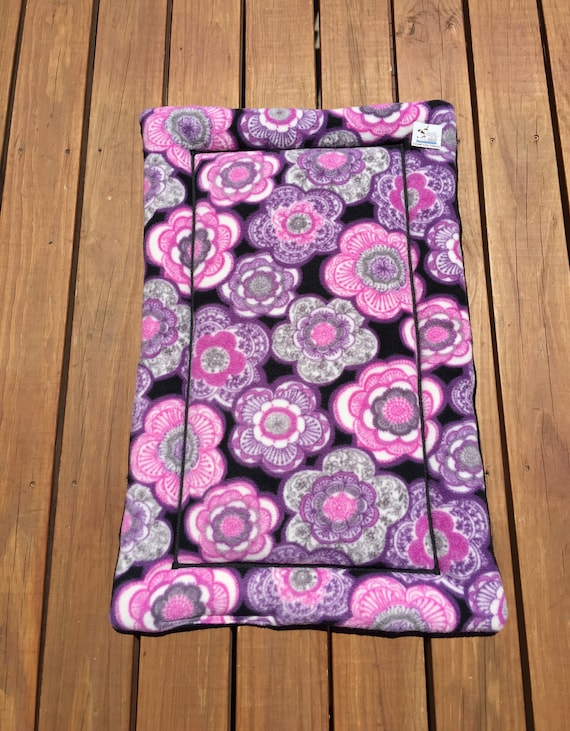 Purple Dog Bed, Flower Pet Bed, Beds for Cats, Floral Pet Bed, Puppy Pad, Couch Cushion, Dog Crate Pad, Big Flowers,  Fits 24x36 Crate