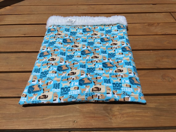Blue Burrow Bag, Snuggle Sack, Dog Gone Tired, Doxie Bed Warmer, Wiener Dog Bed, Made in Colorado, Pet Bed, Chihuahua Sack, Dog Cave, SSL