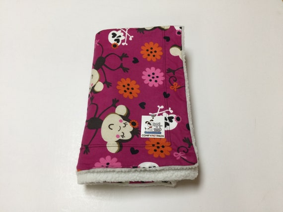 Dog Blanket, Blanket with Monkeys and Crossbones, Crate Bedding, Toddler Nap, Kennel Pad, Gifts for Boy Girls, Size 39x29