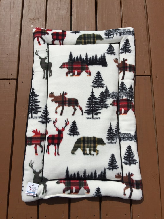 Crate Pad for Dogs in a Mountain Woodland theme, Fits 24x36 Crate