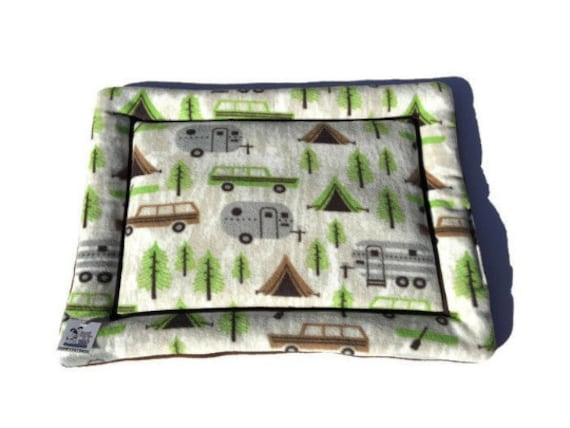 Dog Crate Pad, Camping Fleece Bed, Pet Stroller Pad, Small Cat Bedding, Travel Trailer Decor, Puppy Bedding, Pet Camping Gear, 19x25