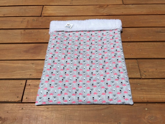 Snuggle Sack with Pink Flamingos, Faux Fur, Washable, Size 20x25, SSL
