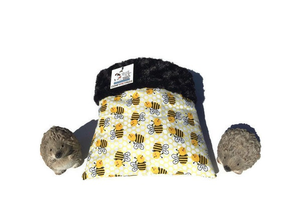 "Hedgehog Snuggle Sack - Honeycomb Bees - Hedgehog Pouch - Minky Swirl Fur - Small Animal Bedding - 3 layers - Size 9""x9"" - Washable"