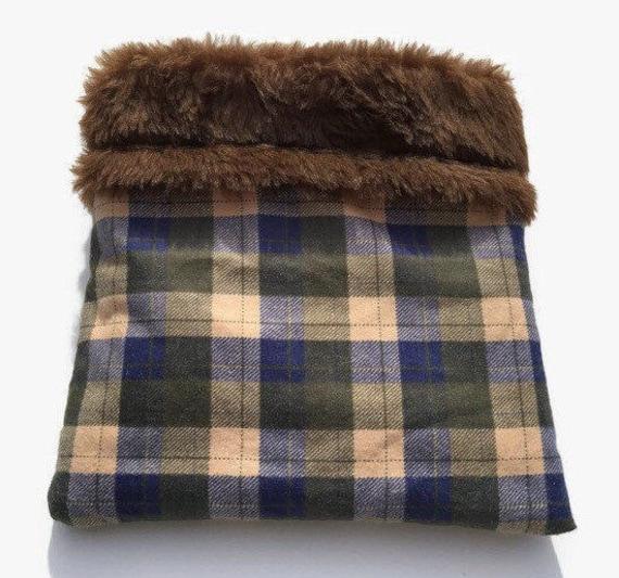 Plaid Hedgehog Sack, Skinny Guinea Bedding, Faux Fur, Size 9x9, Washable
