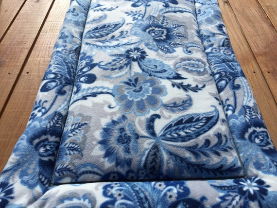 Extra Large Dog Crate Pad with Blue Medallion Flowers Fits 30x48 Crate