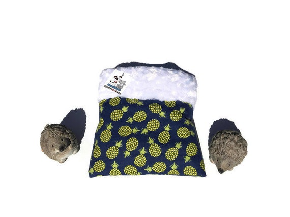 """Snuggle Sack for Hedgehogs with Pineapples - Minky Swirl Fur - Small Animal Bedding - 3 layers - Size 9""""x9"""" - Washable"""