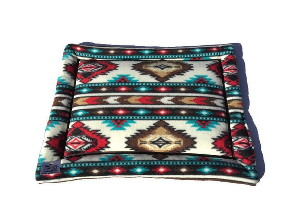 Red Southwestern Pet Bed, Crate Pad for Dogs, Cat Couch Pad, Puppy Bedding, Kennel Cover, Carrier Pad, Cat Bed, Size 19x25