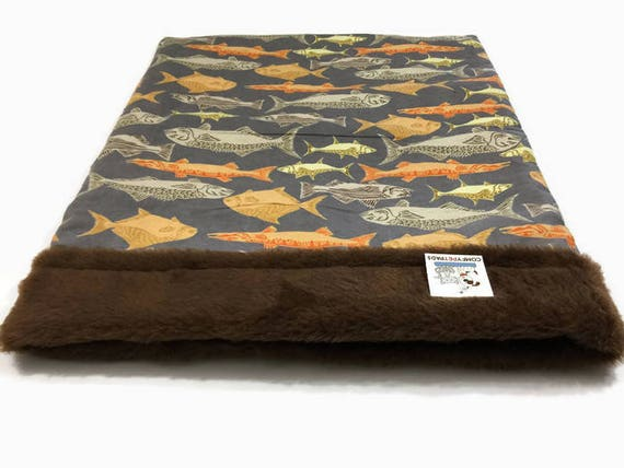 Snuggle Sack for Dogs or Cats in  a fish themed flannel pattern, SSL