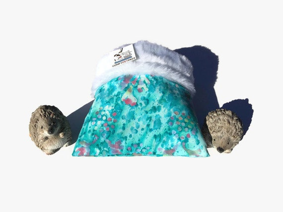 Snuggle Sack, Small Critter Bed, Hedgehog Accessories, Faux Fur, 3 layers, Washable, Size 9x9
