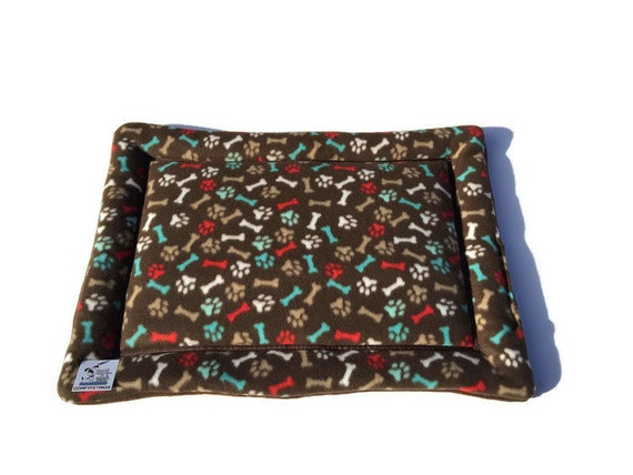 Paw Print Dog Bed, Crate Pad for Dogs, Puppy Bedding, Small Carrier Pad, Kennel Mat, Pet Stroller Pad, Washable, Size 19x25