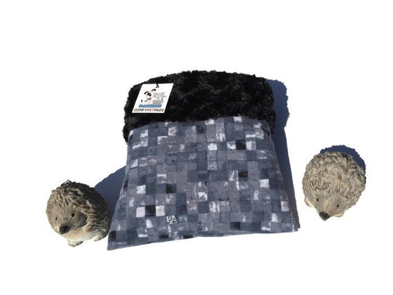 """Snuggle Sack for Hedgehogs lined with Minky Swirl Fur, Guinea Pig Pouch, 3 layers, Size 9""""x9"""", Washable"""