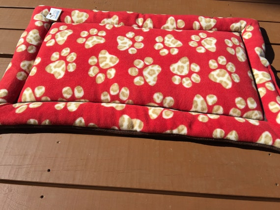Red Paw Print Dog Bed, Crate Kennel Pad, Washable