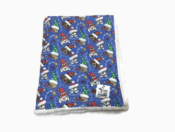 Christmas Blanket, Dogs in Santa Hats, Crate Bedding, Pet Stroller Cover, Baby Gifts, Ho Ho Ho, Holiday Blankets, Christmas Decor