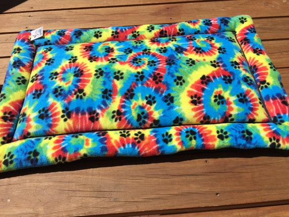 Dog Crate Pad in Tie Dye theme, Paw Print Pet Bed, Washable, Fits 24x36 Crate