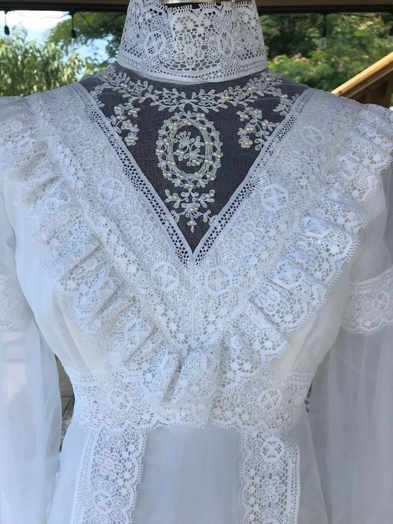60s Wedding Dress - Bishop Sleeves - Boho - Victor