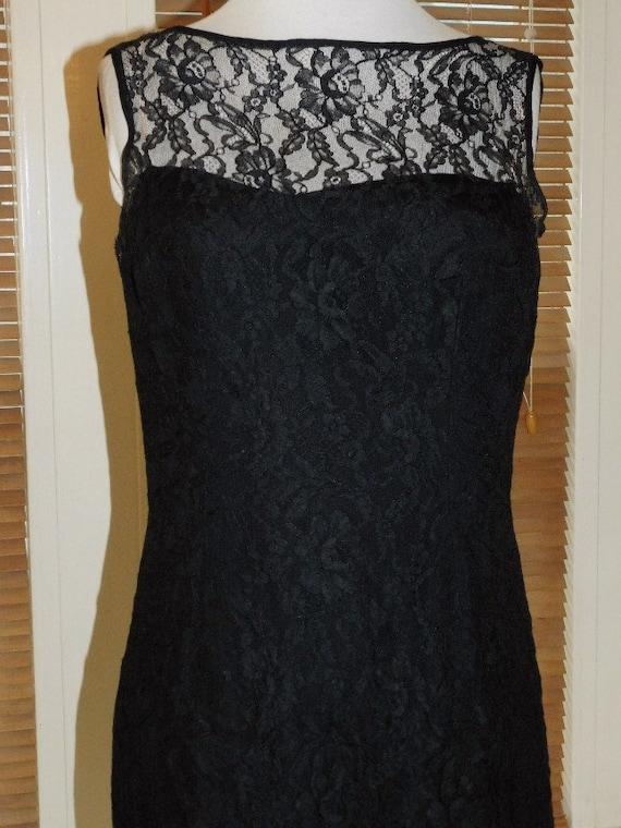 Black Lace Evening Dress 1950s - image 3