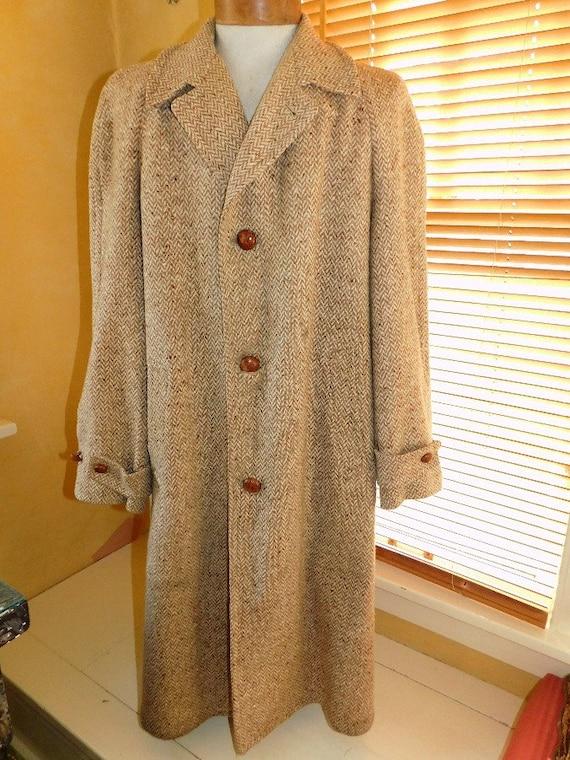 Mens 1950's Herringbone Top Coat