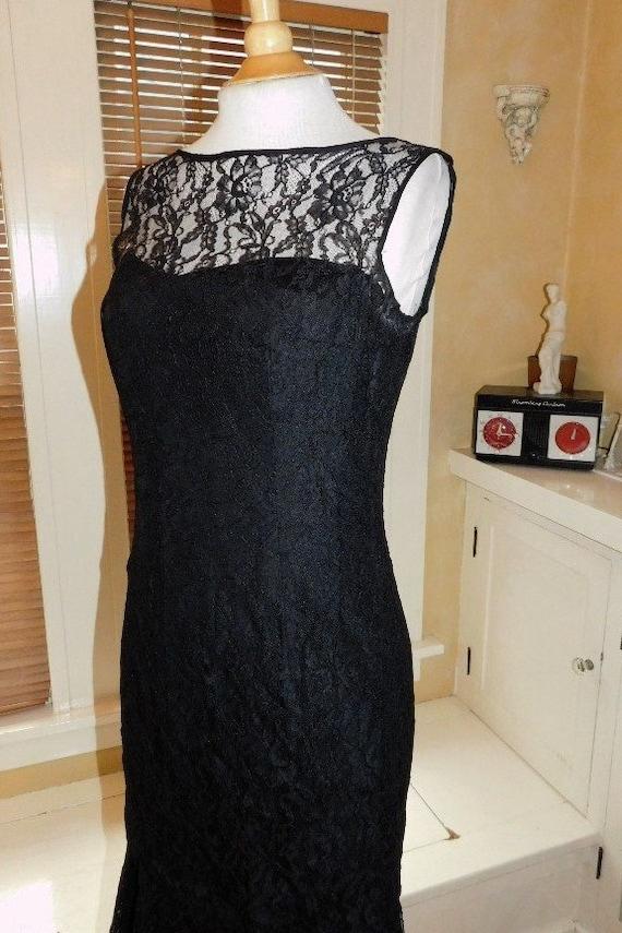 Black Lace Evening Dress 1950s - image 5