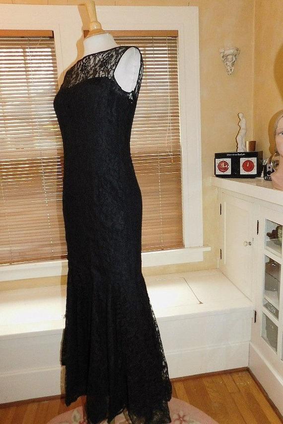Black Lace Evening Dress 1950s - image 2