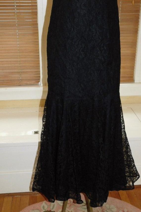 Black Lace Evening Dress 1950s - image 9
