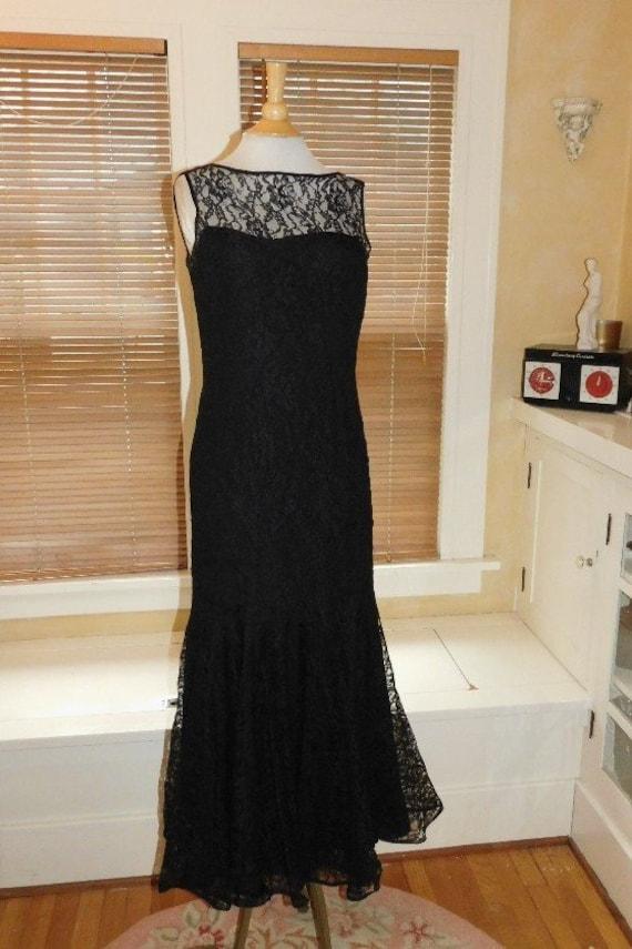 Black Lace Evening Dress 1950s - image 10