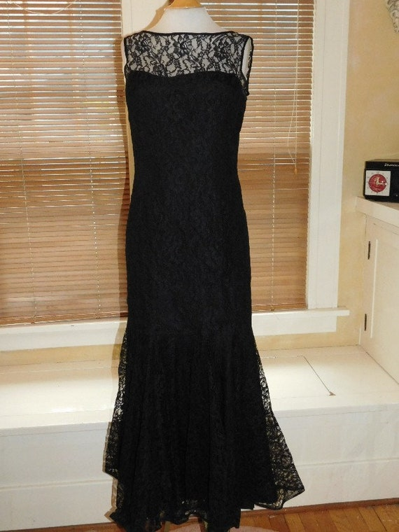 Black Lace Evening Dress 1950s - image 4