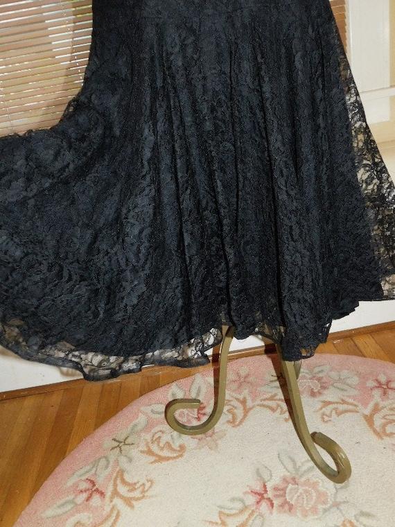Black Lace Evening Dress 1950s - image 8