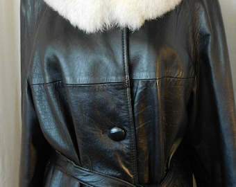 Woman's 1960's  Leather & Fur Jacket