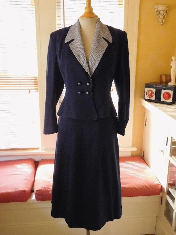 Blue Gabardine Suit 1950s
