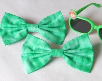 Green Tie Dye hair bow HANDMADE hair accessory, barrette