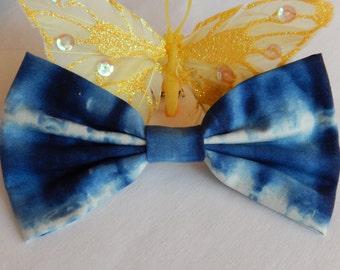 Blue Tie Dye Hair Bow HANDMADE hair accessory