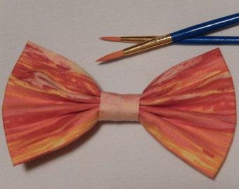 Orange Tie Dye hair bow HANDMADE hair accessory, barrette