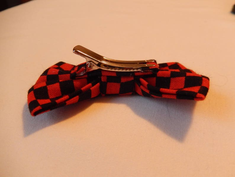Red and Black Checkered hair bow Handmade Hair Accessory barrette