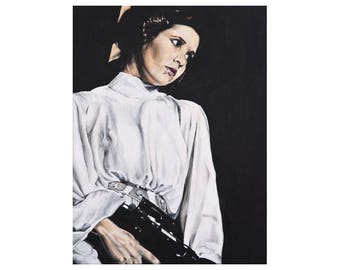 The Princess - Princess Leia / Carrie Fisher with Gun Star Wars A New Hope Art Print
