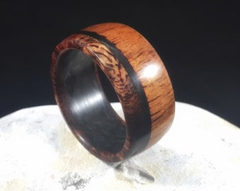 wood ring, Koa with carbon fiber, wood wedding band, wooden wedding ring,Koa wood ring, hawaiian wood ring, cool ring for guys, koa wood